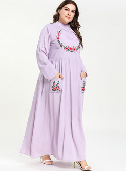Standing Collar Plus Size Long Dress