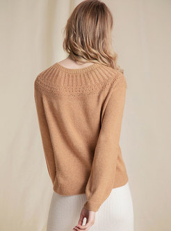 Solid Color Lantern Sleeve Pullover Sweater