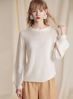 O-neck Long Sleeve Openwork Sweater