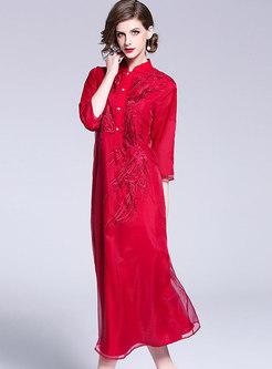 Vintage Mandarin Collar Shift Maxi Dress
