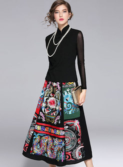 Mandarin Collar Slim Top & Long Skirt