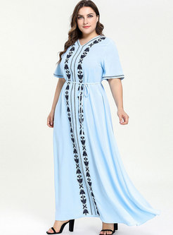 Short Sleeve Embroidered Waist Dress