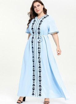 Short Sleeve Embroidered Waist Dress