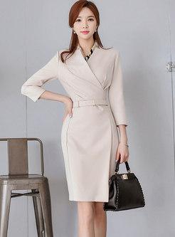 Work V-neck Solid Color Bodycon Dress