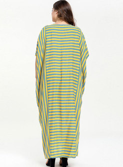 Bat Sleeve Striped Loose Dress