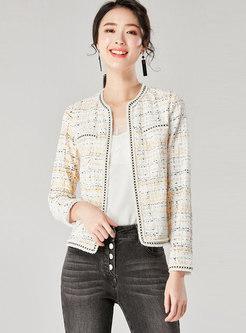 White Crew Neck Short Print Lace Coat