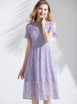 Sweet Lace Openwork A Line Dress