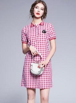 Brief Lapel Plaid Beaded Slim Dress