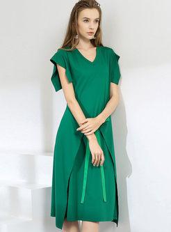 V-neck Ruffed Sleeve Asymmetric Dress