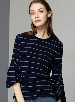 O-neck Flare Sleeve Striped T-shirt