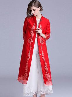 Vintage Mandarin Collar Embroidered Coat
