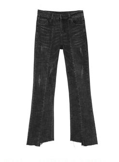 Black Slim Rough Selvage Flare Pants