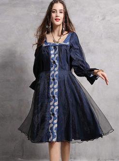 Retro Mesh Patch Denim Embroidered Dress