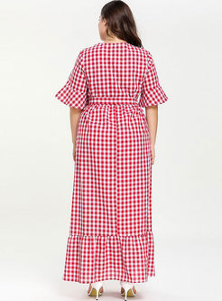 Plus Size Plaid Waist Maxi Dress