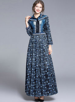 Retro Lapel Long Sleeve Print Dress
