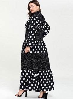 Standing Collar Long Sleeve Dot Dress