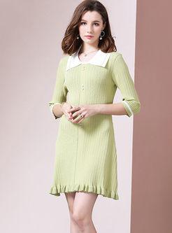Sweet Doll Collar Slim Knit Dress