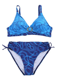 Plus Size Print Tied Bikini