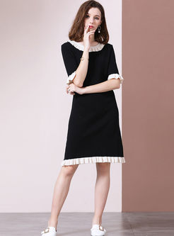Color-blocked Half Sleeve Knit Dress