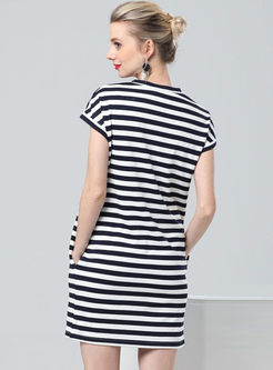 Casual Striped Loose T-shirt Dress