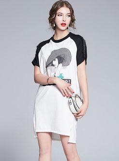 Color-blocked O-neck Pullover Slit Dress