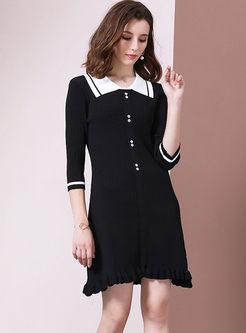 Turn Down Collar Half Sleeve Mini Dress