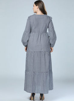 Plus Size Plaid Lantern Sleeve Dress