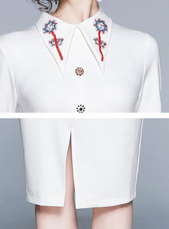 Turn Down Collar Embroidered Slim Dress