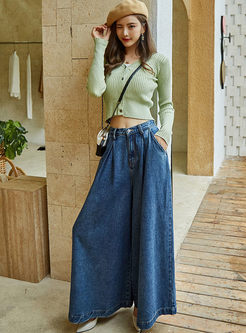 Elastic High Waisted Wide Leg Pants
