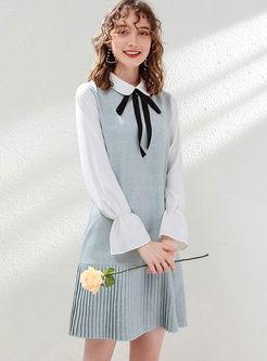 Color-blocked Lapel Knit Dress