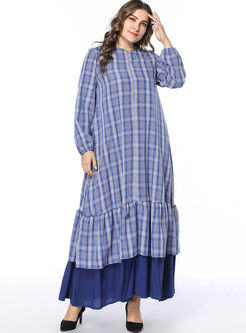 Plus Size Plaid Patchwork Shift Dress