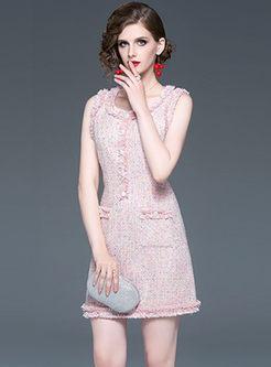 O-neck Sleeveless Tassel Slim Dress