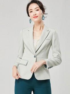 Work Light Green Notched Slim Blazer