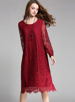 Wine Red Plus Size Lace Loose Dress