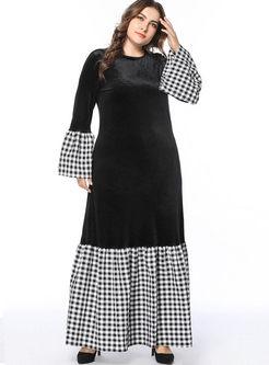 Plus Size Plaid Patchwork Maxi Dress
