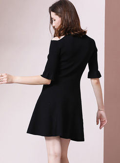 O-neck Half Sleeve A Line Mini Dress