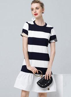 Casual Striped Patchwork Falbala Dress