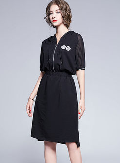 Hooded V-neck Elastic Waist Dress
