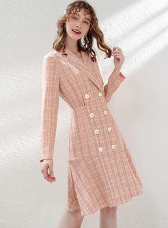 Notched Long Sleeve Plaid Dress