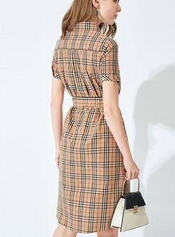 Casual Lapel Plaid Waist Shirt Dress