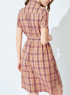 Turn Down Collar Short Sleeve Plaid Dress