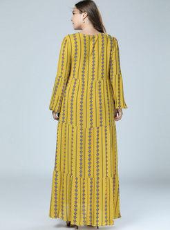 O-neck Long Sleeve Print Shift Dress