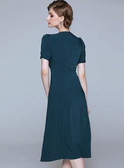 Green Short Sleeve A Line Midi Dress
