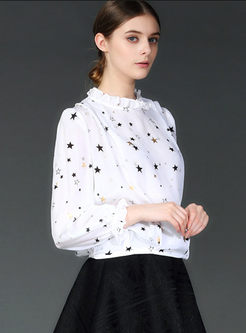 Sweet Standing Collar Star Print Blouse