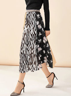 Print Patchwork Pleated A Line Skirt