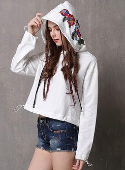 Hooded Embroidered Loose Short Sweatshirt