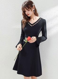 Black V-neck Flare Sleeve Knit Dress