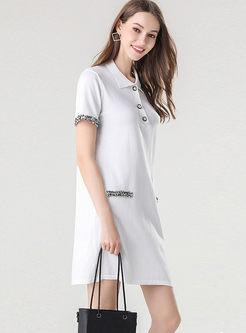 Turn Down Collar Slim Knit Mini Dress