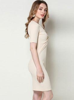 V-neck Short Sleeve Knit Bodycon Dress