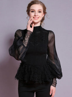 Black Slim Openwork Beaded Knit Top